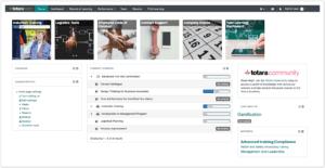 Website, displaying Totara user dashboards